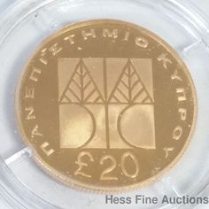 20 Pounds Greek 1992 Bank Of Cyprus Limited Edition Mint Condition Gold Coin