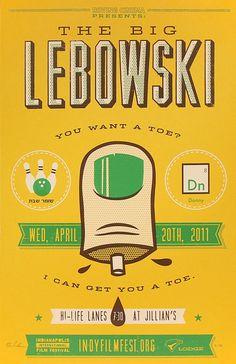 weandthecolor:  The Big Lebowski Poster design by RONLEWHORN. More poster design inspiration. __posted byweandthecolor//facebook//twitter