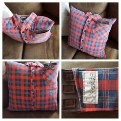 Memory pillow made out of Truman Weatherbee's old work shirt, he loved Chocolate <3