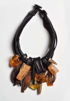 Monies UNIQUE Amber, Bone, Antler Necklace