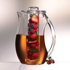 acrylic pitcher, make your own flavored water with out the calories, since I have my own fruit trees lemons,oranges etc.,its so convenient, cost nothing to make, and no plastic to recycle. Love it.