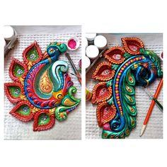 My favourite festival. Diya Decoration Ideas, Diwali Decorations, Decor Ideas, Hobbies And Crafts, Diy And Crafts, Arts And Crafts, Clay Wall Art, Clay Art, Diwali Diya