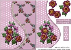 Embroidered Flowers Teardrop Side Panel Card