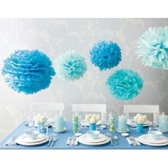 Blue decorations, good alternative to balloons