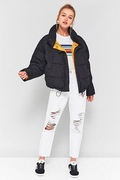 Light Before Dark Black Yellow Contrast Lining Pillow Puffer Jacket Yellow Puffer Jacket, Black Puffer Coat, Valentino Bags, Puffer Jackets, Winter Jackets, Urban Outfitters, Coats For Women, Winter Outfits, Winter Clothes
