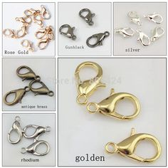 (100 unids/lote) 12mm gancho 502 de oro plata bronce antiguo de aleación de zinc bisutería rodio negro pistola de oro rosa 58-248