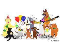 ベクター: party cats and dogs group点