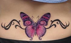 83350c7f5859b Tattoos and Body Piercings, Tattoos and Physique Piercings Tattoo Image -  massive pink purple butterfly and tribal on decrease again Tattoo Image -  massive ...