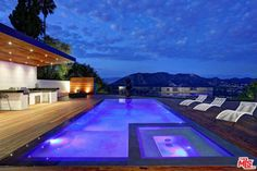 Call Jeff 265 1297 - A Custom Designed Architectural Gem, in the highly desirable Hollywood Hills West. Revel i. Small Backyard Pools, Small Pools, Above Ground Pool Decks, In Ground Pools, Pool Designs, Luxury Homes, Mansions, House Styles, Outdoor Decor