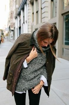 Button down under slouchy sweater... GREAT idea! Never would've thought of this on my own.