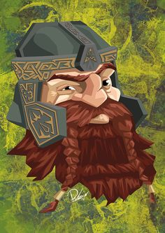 John Rhys-Davies in the role of Gimli - caricature by Ribosio #thelordoftherings