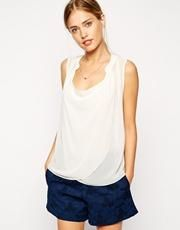 ASOS Sleeveless Blouse With Detail Front And Drape Neck - Cream / US 8