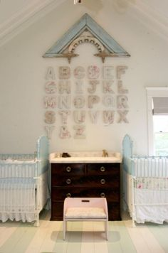 fab nursery with architectural salvage and alphabet letter decor