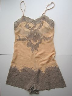 Vintage 1930s Handmade Peach Apricot Crepe Georgette with Coffee Brown Lace Trim Camiknickers Teddy Lingerie