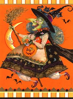 Halloween witch ~ Flying High by David Galchutt Retro Halloween, Halloween Chat Noir, Holidays Halloween, Halloween Crafts, Happy Halloween, Halloween Decorations, Halloween Blocks, Samhain Halloween, Halloween Scene