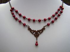 Red Pearl Necklace Vintage Inspired Neo by stonehorsedesigns, $29.00