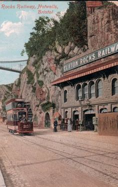 Clifton Suspension road bridge in background designed by Brunel. The Clifton Rocks Railway, near to area called Hotwells close to Bristol City centre. Clifton Bristol, Bristol City, Abandoned Buildings, Abandoned Places, Railway Museum, Old Street, Local History, Old Postcards, Somerset