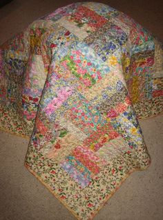 Lap Quilt Shabby Cottage Chic Floral Handmade Quilt by TahoeQuilts