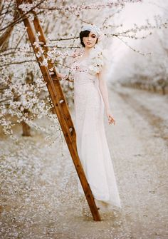 climbing up the ladder shows off the dress...glamorous wedding shoot, almond orchard wedding shoot, Claire Pettibone, pink ombre dress, lavender cake, pastel, cherry blossoms, horse, feathers, hair pieces, lace, ombre flowers, Pacific Weddings mangazine