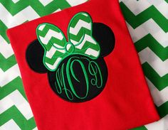 Disney Minnie Mouse Christmas t-shirt youth and adult , red t-shirt with green chevron bow and monogram, Short Sleeve
