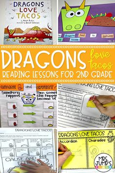These Dragons Love Tacos reading lesson ideas for 2nd grade are great elementary literacy activities. In this post, I talk about reading anchor charts I create to go along with this book, as well as 2nd grade reading worksheets for the book.