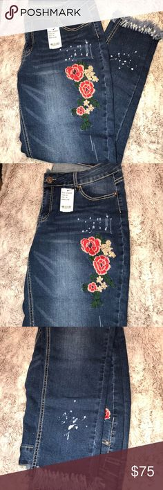 Macy's Brand INC jeans 👖 w/ studs and appliqué Macy's brand INC International Concepts jeans 👖  Front has red roses 🌹 and silver studs.  A few destructive rips and rolled up cuffs.  Boyfriend slim tech fit - which is designed to flatter the fuller figure.   Super soft with a comfortable stretch to them. INC International Concepts Jeans Boyfriend