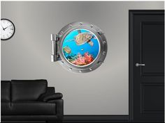 Black hole space scene porthole wall sticker 038
