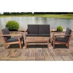 Amazonia Pacific 4 Piece Patio Conversation Set (Black), Size 4-Piece Sets, Patio Furniture (100% FSC)