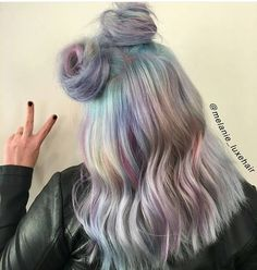 "198 Likes, 4 Comments - @east2westhairvibez on Instagram: ""@melanie_luxehair from Sherman Oaks, CA is speaking our language! Pastels, metallics, spacebuns and…"""