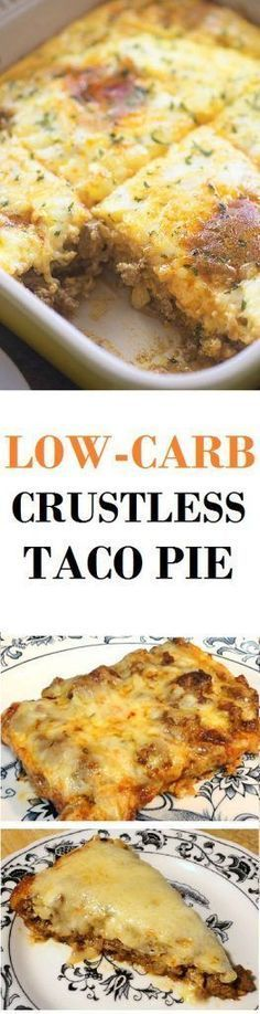 This Low-Carb Crustless Taco Pie makes a simple supper. Its crustless so in addition to the fact that it is low-carb its additionally sans gluten and grain. This quiche is good in diabetic Atkins ketogenic low-carb and Banting diets. Keto Foods, High Carb Foods, Low Carb Diet, Diabetic Foods, Diabetic Recipes, Low Carb Recipes, Diet Recipes, Cooking Recipes, Healthy Recipes