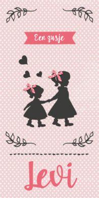 Geboortekaartje silhouet meisje #geboortekaart #geboortekaartjes #geboortekaarten #langwerpig #dochtertje #meisje #baby #zusje #zusjes #zalmkleur