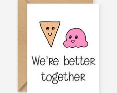 We're better together, greeting cards, funny cards, blank cards, recycled cards, cute, quirky, love, friend, birthday