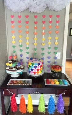 Simple rainbow dessert table for my little pony party