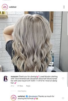 Blonde Hair With Silver Highlights, Silver Blonde Hair, Wella Toner Chart, Hair Color Formulas, Glamorous Hair, Latest Hairstyles, Gorgeous Hair, Your Hair, Hair Makeup