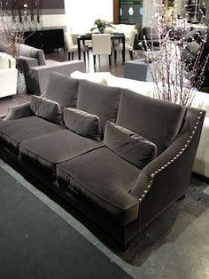 velvet sofa with nail heads