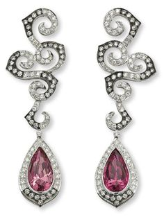 A pair of spinel and diamond ear pendents