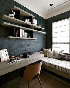 45 Best Modern Bedroom Design Ideas - Home Decorating Inspiration Study Room Design, Home Room Design, Home Office Design, Home Office Decor, Interior Design Living Room, Home Decor, Office Furniture, Office Desk, Furniture Design