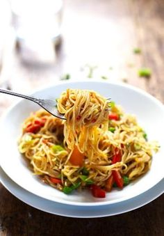 Stir Fried Singapore Noodles with a garlic ginger soy sauce. by julie