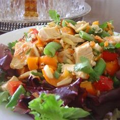 Almond Chicken Salad - Allrecipes.com  Read reviews. I'll try chicken and White beans on the side to choose from.