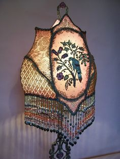 Silk Metallic Antique Embroidered Bird Table Lamp by peacockgypsy, $2200.00