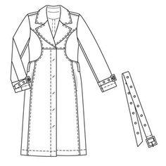Burdastyle 10-2008-125 Trench Coat, 46-52