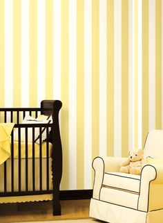Stripe Yellow and White Ashford House, Striped Wallpaper, Wide Stripes, Contemporary Decor, Baby Room, Interior, Modern, Inspiration, Yellow
