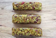 Clean Eating No Bake Cranberry Pistachio Bars - The Kitchen Shed (try 1C pistachios & 3/4C cranberries)