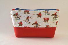 cosmetic make up bag, cowboy, rose, strawberry