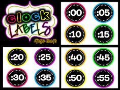 @Lisa Goff Classroom Freebies: Neon Clock Labels