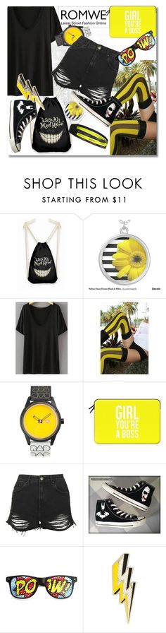 """""""ROMWE CONTEST: BLACK T-SHIRT!!!!"""" by andrea2andare ❤ liked on Polyvore featuring We Love Colors, Harajuku Lovers, Casetify, Topshop, Converse, Anya Hindmarch and Brooks"""