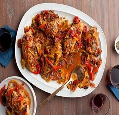 Roman Chicken Meal-is an easy recipe that takes only (1) hour total time from start to finish. (This recipe also contains directions for making one day ahead of time). Ingredients include: Chicken breasts, chicken thighs, prosciutto, bell peppers, garlic, tomatoes and capers. It is well seasoned with salt, pepper, thyme and oregano. This is also a diabetic-friendly and Weight Watchers (6 SmartPoints), (7 PointsPlus) recipe. Makes: (6) servings.