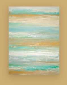 "Shabby Chic Beach Painting Acrylic Abstract on Gallery Canvas Titled: GETAWAY 30x40x1.5"" by Ora Birenbaum"