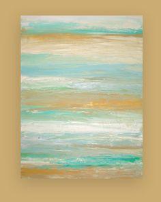 Shabby Chic Beach Painting Acrylic Abstract on by OraBirenbaumArt, $365.00