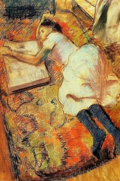 Young Girl Reading on the Floor by Edgar Degas, Oil painting reproductions museum quality Edgar Degas, Degas Drawings, Degas Paintings, Impressionist Paintings, Impressionism Art, Francois Martin, Art Ancien, Girl Reading, Happy Reading